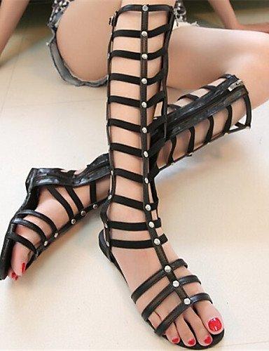 LFNLYX Zapatos de mujer - Tacón Plano - Punta Abierta - Sandalias - Vestido - Semicuero - Negro Black