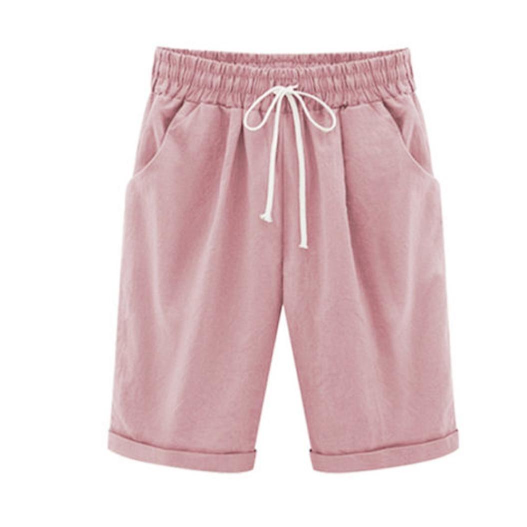 Women Plus Size Linen Short Pants Casual CottonElastic Waist Summer Slim Pants Pink