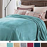 H.VERSAILTEX Fleece Twin Blanket Plush 330 GSM Super Soft Warm Extra Lightweight Bed/Couch Blanket for Twin Bed Thermal Fleece Blankets for Couch Bed Sofa, Easy Care (Duckegg Blue)