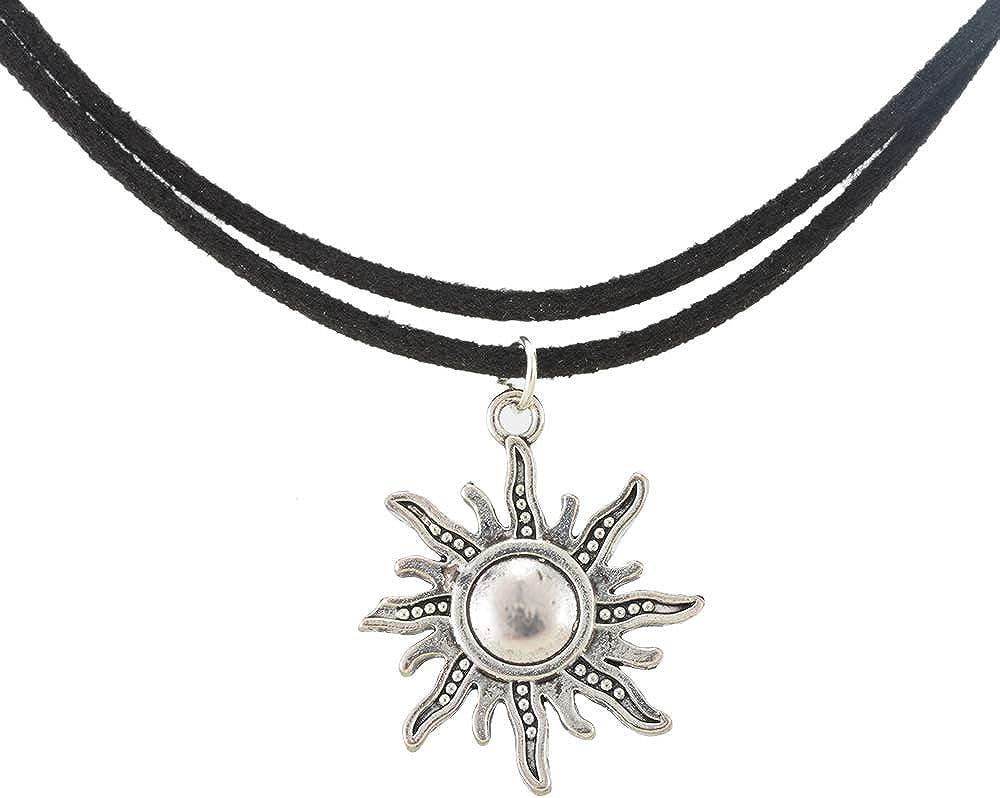 MJartoria Native American Bohemian Sun Charm Handmade PU Leather Gothic Choker Necklace