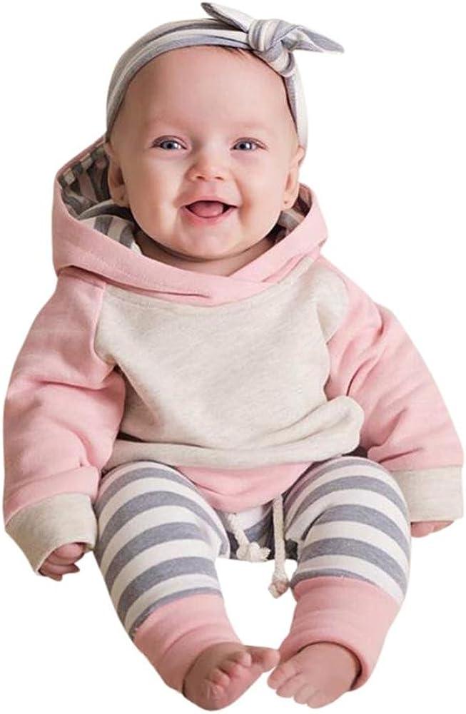 2 A/ños Ropa beb/é 3pcs Conjunto de Ropa para beb/é ni/ñas Sudadera con Capucha Tops+ Pantalones Rosado, Tama/ño:3 Mes Diadema Conjunto de Trajes 0 Mes