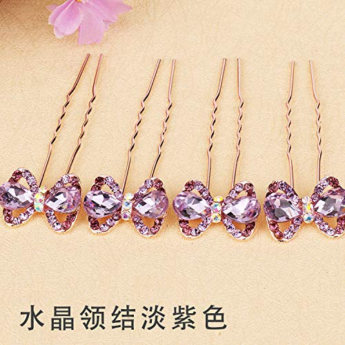 (OLIJU Wholesale Fashion Hair pin Accessories Hairpin Type Dish Made Popular Jewelry Small Diamond Crystal Women Girls (Crystal Lavender Bow tie)