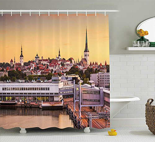 Lohebhuic Urban Shower Curtain Tallinn Old City from The Port Baltic Sea Estonian Gothic Town Cathedrals Panorama Fabric Bathroom Decor Set with Hooks,53.82