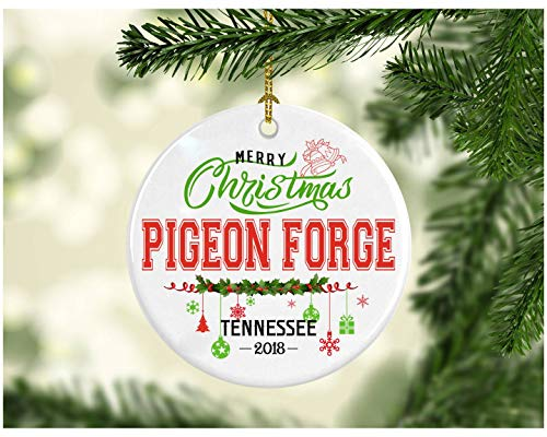 - Christmas Decorations Tree Ornament - Gifts Hometown State - Merry Christmas Pigeon Forge Tennessee 2018 - Ceramic 3 Inches White