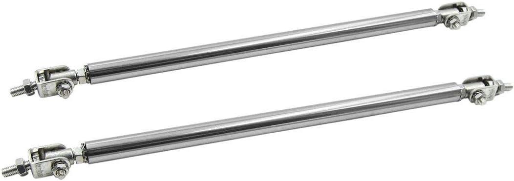 2x Silver 20cm Adjustable Bumper Lip Air Splitter Support Rods Strut Tie Bar