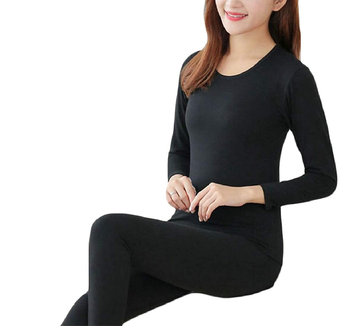 FLCH+YIGE Womens Basic Seamless Round Neck Top /& Bottom Thermal Underwear Sets