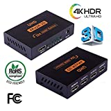 1x4 HDMI Powered Splitter 1 in 4 out V1.4 HDCP Bypass Certified Duplicate Screen for Full HD 4K x 2K, 3D, EDID Support