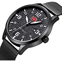 Men's Analog Quartz Watch with Numbers Date Waterproof Black Stainless Steel Mesh Band Fashion Casual Dress Wrist Watches for Men