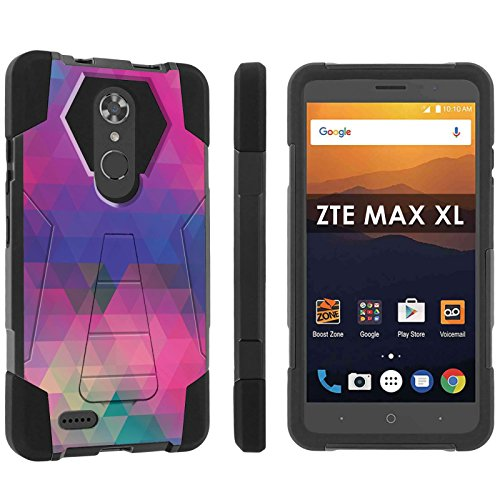 ([POPCulture] Rugged Case For ZTE [Max XL] [Blade Max 3 Z986] [Max Blue] [Black/Black] Military Armor Case [KickStand] - [Multi Block] Print Design)