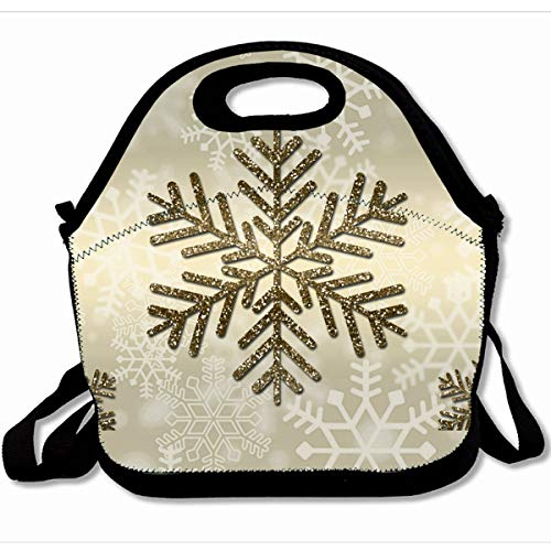 Ahawoso Reusable Insulated Lunch Tote Bag Christmas Snowflake Gold 10X11 Zippered Neoprene School Picnic Gourmet Lunchbox