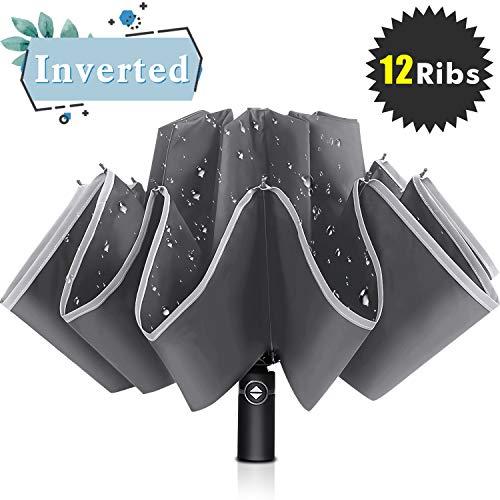 Bodyguard Inverted Umbrella, Windproof Umbrella, 12 Ribs Reverse Umbrella with Reflective Stripe, Teflon Umbrella in Rain and Sun for Women and Men