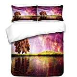 iPrint 3Pcs Duvet Cover Set,Magical,Supernatural Sky Scenery with Mystical Northern Solar Theme and Star Clusters Photo,Purple,Best Bedding Gifts for Family/Friends