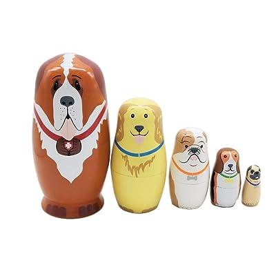 5 Piezas muñecas Rusas de anidación Matryoshka apilamiento de Madera anidado Lindo Cachorro Perro Juguete de Madera for niños Regalo de cumpleaños decoración del hogar: Juguetes y juegos