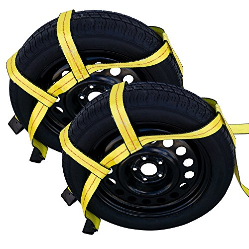 Robbor Tow Dolly Basket Straps with Flat Hook Over-the-Wheel Tie Down Bonnet Wheel Net for Small to Medium Size Tires 14-17