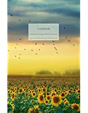 """Notebook: Dotted grid Journal. Bullet Diary. Ideal for Notes, Memories, Journaling, Creative planning and Calligraphy practice. 120 Pages. Soft matte cover. Portable. 5.5"""" x 8.5"""". Great gift idea. (Sunflowers field yellow blue sky cover)."""