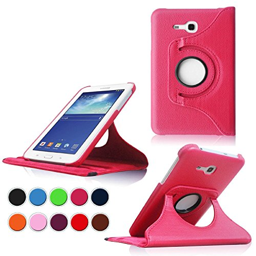 (KH-MALL Samsung Galaxy Tab 3 Lite 7.0 SM-T110 / T111 7.0 Inch Android Tablet Case, 360 Degree Rotating Case Stand Smart Leather Cover Case + Gift: Free Stylus Pen X)