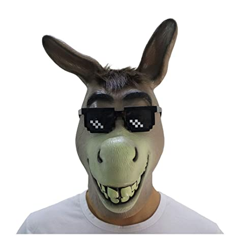 Máscara YN Novedad de Lujo Burro Shrek Mascarada Animal látex de Halloween