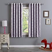 "Best Home Fashion Room Darkening Blackout Moroccan Print Curtains – Antique Bronze Grommet Top – Lilac – 52""W x 63""L – (Set of 2 Panels)"
