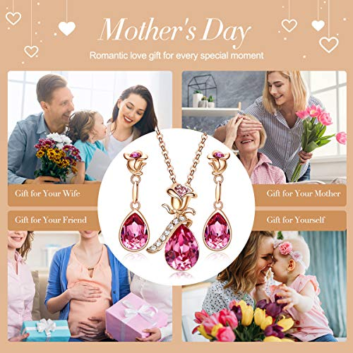 CDE Rose Flower Jewelry Set for Women Hypoallergenic 18K Rose Gold /White Gold Plated Ladies Necklace Embellished with… 3