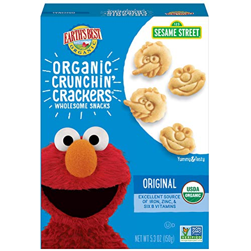 Earth's Best Organic Sesame Street Toddler Crunchin' Crackers, Original, 5.3 oz. Box (Pack of 6) -