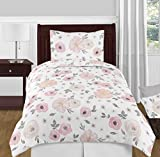 Sweet Jojo Designs 4-Piece Blush Pink, Grey and White Shabby Chic Watercolor Floral Girl Twin Kid Childrens Bedding Comforter Set s - Rose Flower