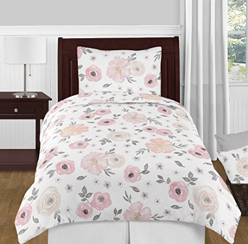 Sweet Jojo Designs 4-Piece Blush Pink, Grey and White Shabby Chic Watercolor Floral Girl Twin Kid Childrens Bedding Comforter Set s - Rose Flower ()