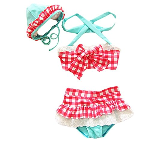 Baby Toddler Girl Plaid Bandeau Bowknot Swimsuit with Hat 3pcs Bikini (Eyelet Bandeau)