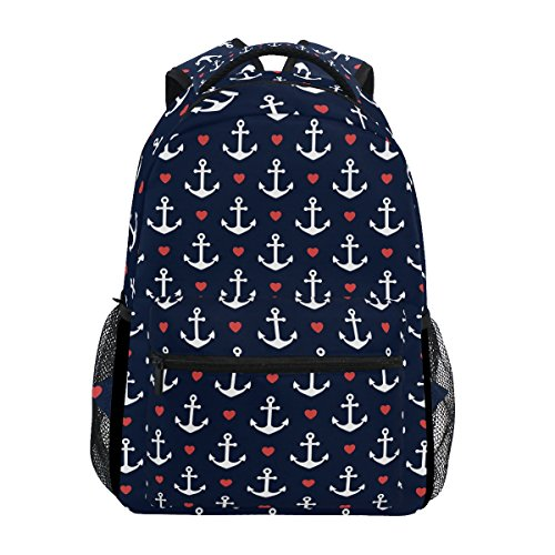 TropicalLife Nautical Navy Anchor Pattern Red Heart Backpacks Bookbag Shoulder Backpack Hiking Travel Daypack Casual Bags