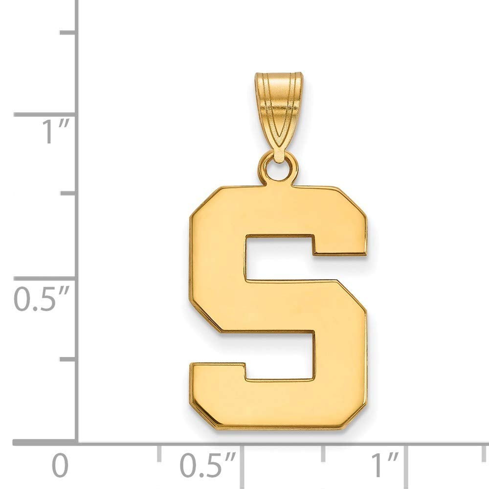 Roy Rose Jewelry Sterling Silver with 14K Yellow Gold-plated LogoArt Michigan State University Large Pendant