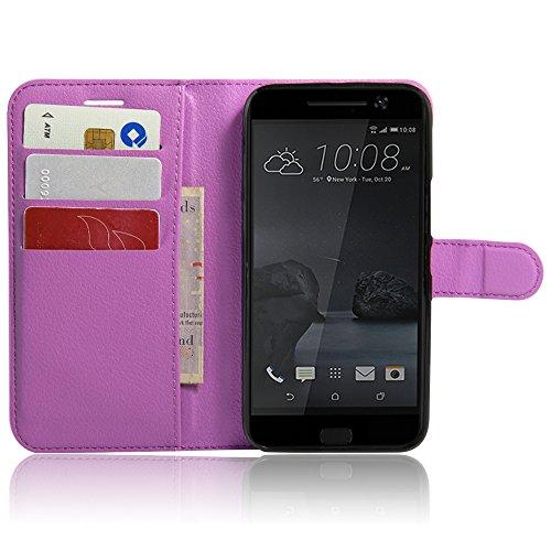Funda HTC One M10 Billetera Carcasa, Forhouse Patrón de Litchi Lustroso Ligero Flip Prima PU Cuero Wallet Caso con [Kickstand][Ranuras para Tarjetas y Caja][Cierre Magnético] Delgado Fit Book Style An Púrpura