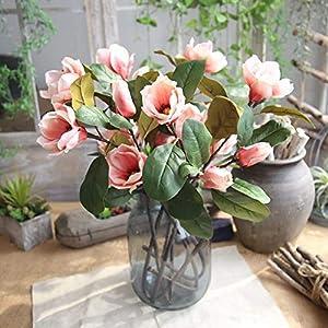 Hivot Artificial Plant Leaf Magnolia Floral Wedding Bouquet Party Arrangement Fake Flowers Home Garden Decor Craft 74