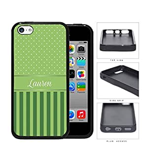 Green and White Small Polka Dots Pattern on Top with Dark and Light Green Vertical Stripes on Bottom and Green White Monogram in Center Rubber Silicone TPU Cell Phone Case Apple iPhone 5c