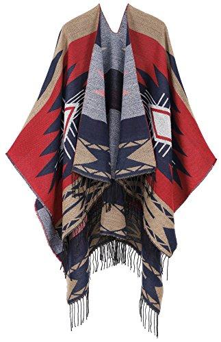 Andorra Women's Vintage Soft Merino Wool Kimono Wrap Cardigan Ruanas w/Tassels (Vision - Heritage) (Wool Cardigan Vintage)