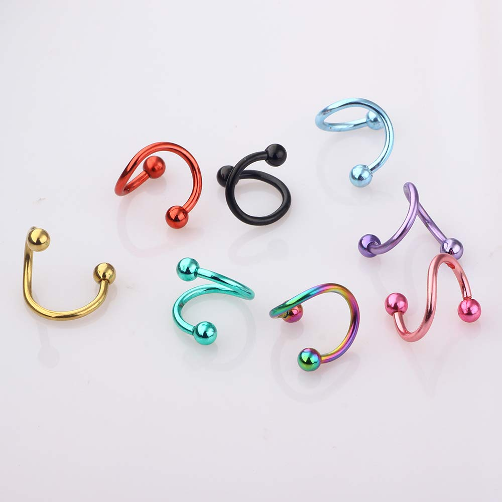 TIANCI FBYJS 8pcs Surgical Steel Hypoallergenic Lip Piercing Labret Studs Tongue Nipple Eyebrow Nose Ring Spiral Ring 8pcs 8mm