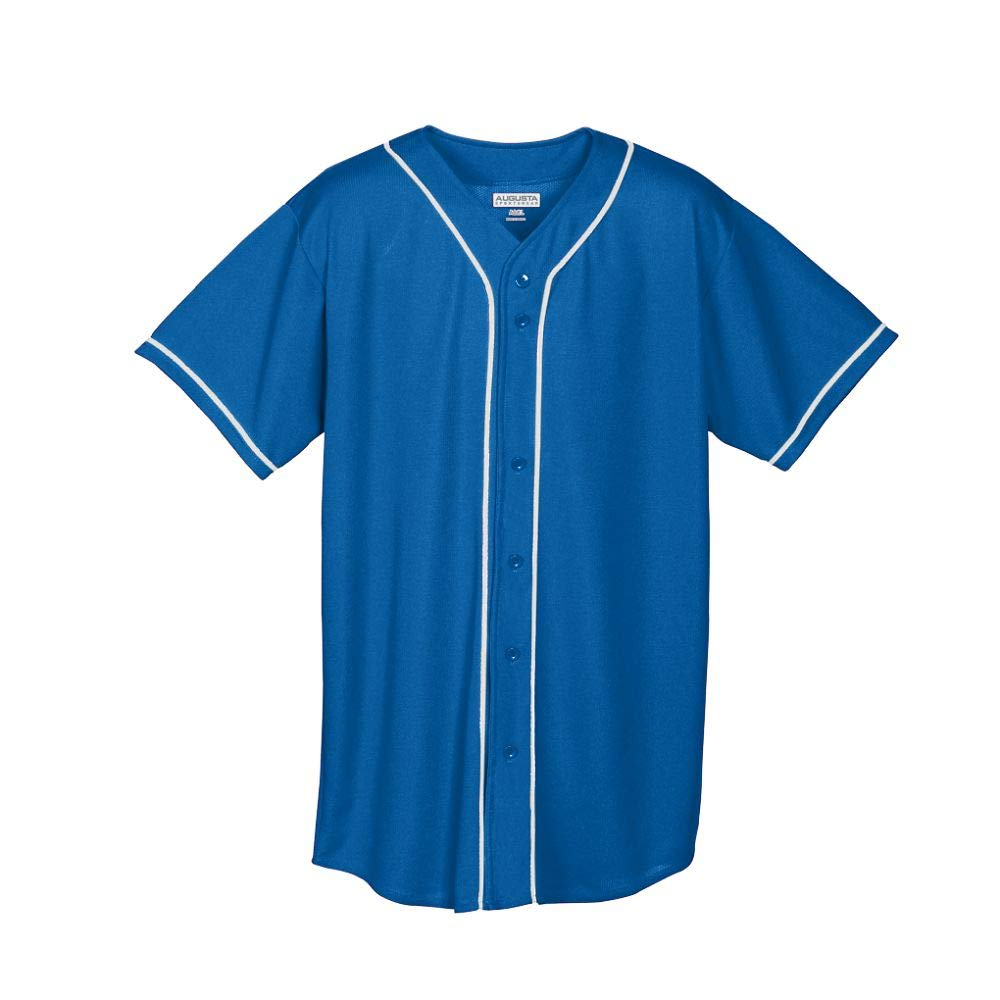 Augusta Sportswear Wicking Mesh Button Front Jersey with Braid Trim M Royal/White by Augusta Sportswear