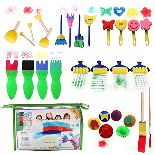 (Gift Prod 29 Pcs Round Stencil Sponge Wooden Handle Foam Brush Furniture Art Crafts Painting Tool Supplies Painting Stippler Set DIY Painting Tools in a Bag for Kids (Style 4))
