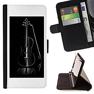 Music Black Violin - Painting Art Smile Face Style Design PU Leather Flip Stand Case Cover FOR Samsung Galaxy S6 EDGE @ The Smurfs