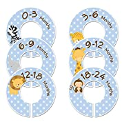 Closet Doodles C86 Safari Animals Boy Baby Clothing Dividers Set of 6 Fits 1.25inch Rod