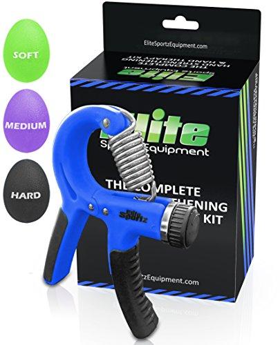Pinzas de mano ajustable y 3 mano agarre bolas - gama de la resistencia de 22 libras a 88 lb - azul