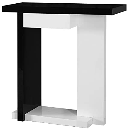 Monarch Specialties Glossy White/Black Hall Console Accent Table, 32 Inch