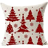 SODIAL(R) シーズンブレスティング 様々 綺麗 赤のクリスマスツリースノーフレーク メリークリスマスギフト リネン枕ケース カバー ホームオフィス ソファー 車の装飾 スクエア 赤+ベージュ