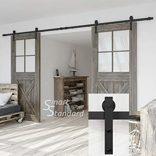 13ft Double Door Sliding Barn Door Hardware Kit - Super Smoothly and Quietly - Simple and Easy to Install - Includes Step-by-Step Installation Instruction -Fit 36