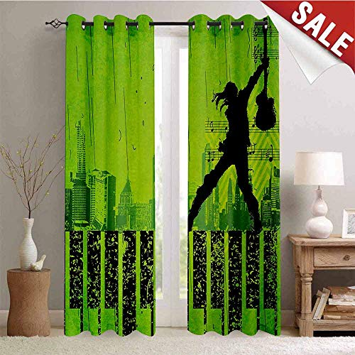(Hengshu Popstar Party Decorative Curtains for Living Room Music in The City Theme Singer with Electric Guitar on Grunge Backdrop Waterproof Window Curtain W84 x L96 Inch Lime Green)