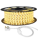 LE 20M Plug in LED Strip, Warm White, 1200 SMD 3528 LEDs, IP65 Outdoor Rope Light, 220V - 240V AC Mains Powered, Fixing Clips Include