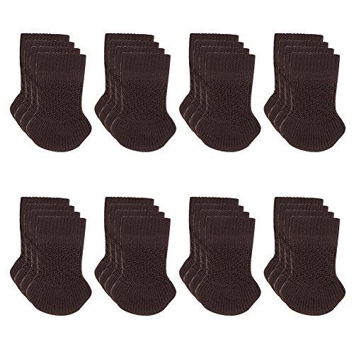 BLENDNEW Chair Socks - 32 pcs Knitting Wool Furniture Feet Socks/Chair Leg Floor Protectors/Chair Leg Socks/High Elastic Brown Furniture Pads Covers Furniture Caps Set