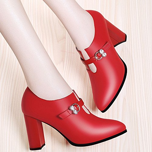 And Women'S High Shoes red Shoes High Autumn Rough Fashion Heeled New Women'S With Jqdyl heels Shoes Spring zYw6qZC