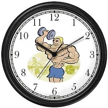 Caricatura de levantador de peso con mancuernas de Muscle Beach 1 - Física fitness-exercise-body edificio reloj de pared de relojes WatchBuddy (marco ...