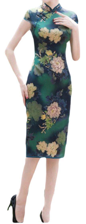 Etecredpow Women's Split Bodycon Satin Classic Cheongsam Printed Midi Dresses Green L
