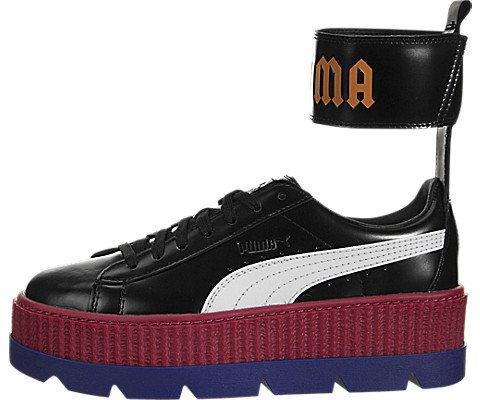 Black Flame Platform Womens Shoes - PUMA Women's Fenty x Ankle Strap Sneakers, Black/White/Red/Blue/Flame, 8.5 B(M) US