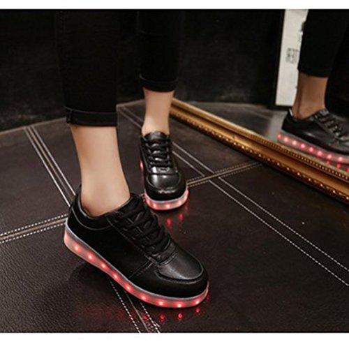 (Present:kleines Handtuch)JUNGLEST® Frauen Männer USB Lade LED leuchten Schuh Blink Schwarz
